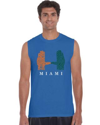 Los Angeles Pop Art Men's Word Art Miami Hurricanes Hand Symbol Sleeveless T-Shirt Big & Tall