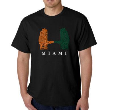 Los Angeles Pop Art Men's Word Art Miami Hurricanes Hand Symbol T-Shirt Big & Tall