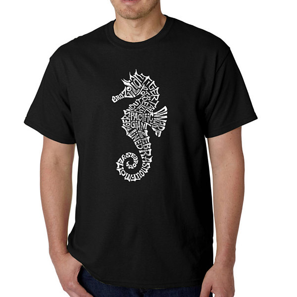 Los Angeles Pop Art Men's Word Art Types of Seahorse T-Shirt Big & Tall