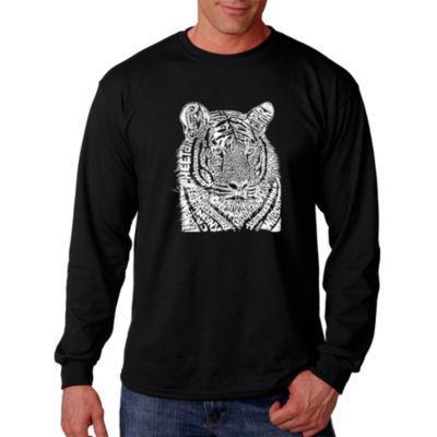 Los Angeles Pop Art Men's Word Art Big Cats Long Sleeve T-Shirt Big & Tall