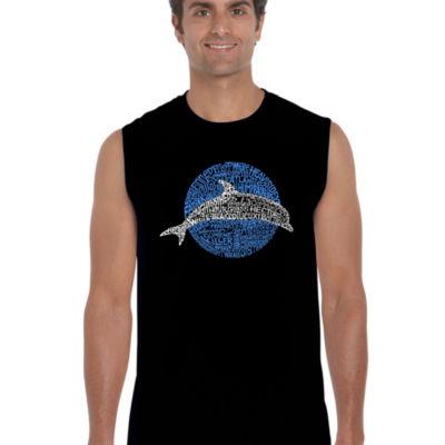 Los Angeles Pop Art Men's Word Art Species of Dolphin Sleeveless T-Shirt Big & Tall