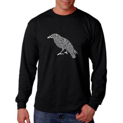 Los Angeles Pop Art Men's Word Art Edgar Allen Poe's The Raven Long Sleeve T-Shirt