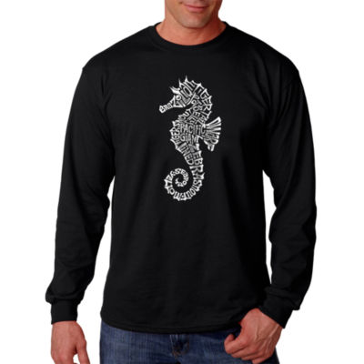 Los Angeles Pop Art Men's Word Art Types of Seahorse Long Sleeve T-Shirt