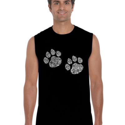 Los Angeles Pop Art Men's Word Art Meow Cat Prints Sleeveless T-Shirt