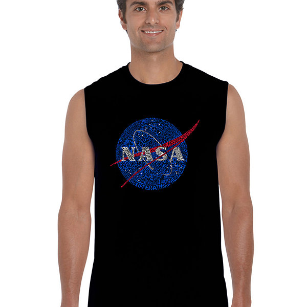 Los Angeles Pop Art Men's Word Art NASA's Most Notable Missions Sleeveless T-Shirt