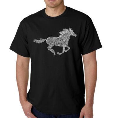 Los Angeles Pop Art Men's Word Art Horse Breeds T-Shirt