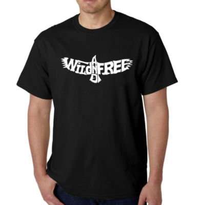 Los Angeles Pop Art Men's Word Art Wild and Free Eagle T-Shirt
