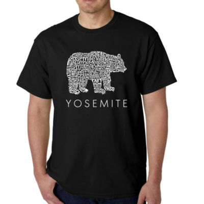 Los Angeles Pop Art Men's Word Art Yosemite Bear T-Shirt