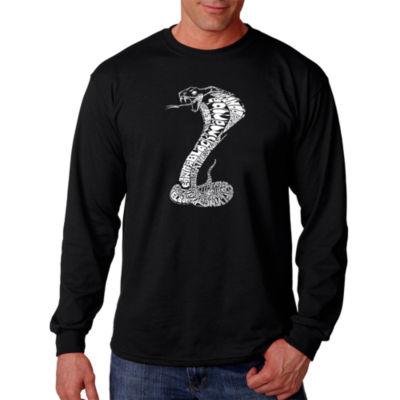 Los Angeles Pop Art Men's Word Art Types of Snakes Long Sleeve T-Shirt