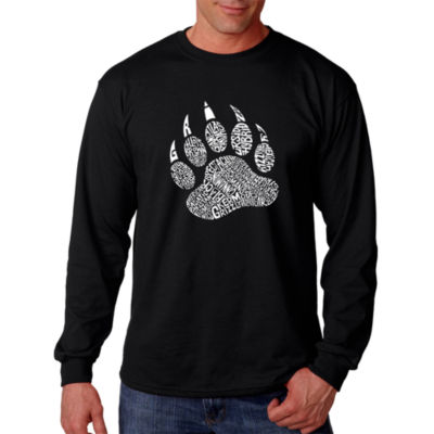 Los Angeles Pop Art Men's Word Art Types of BearsLong Sleeve T-Shirt Big & Tall