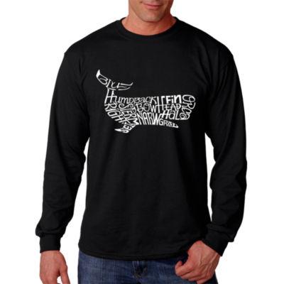 Los Angeles Pop Art Men's Word Art Whales Long Sleeve T-Shirt Big & Tall