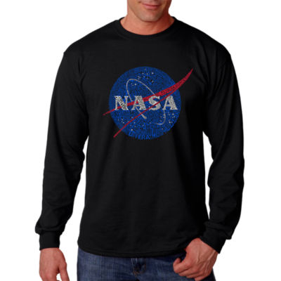 Los Angeles Pop Art Men's Word Art NASA's Most Notable Missions Long Sleeve T-Shirt Big & Tall