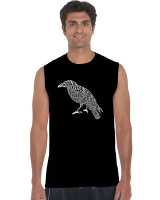 Los Angeles Pop Art Men's Word Art Edgar Allen Poe's The Raven Sleeveless T-Shirt Big & Tall