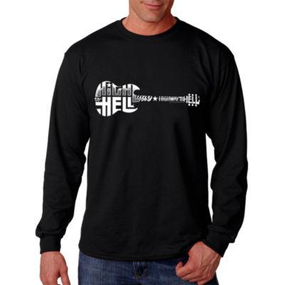Los Angeles Pop Art Men's Word Art Highway to Hell Long Sleeve T-Shirt Big & Tall