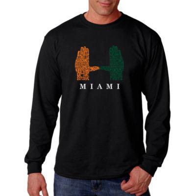 Los Angeles Pop Art Men's Word Art Miami Hurricanes Hand Symbol Long Sleeve T-Shirt Big & Tall