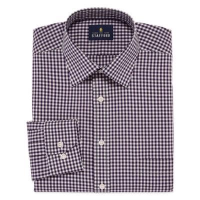 Stafford Travel Easy-Care Broadcloth Long Sleeve Broadcloth Gingham Dress Shirt