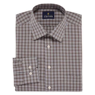 Stafford Travel Easy-Care Big And Tall Long Sleeve Broadcloth Checked Dress Shirt