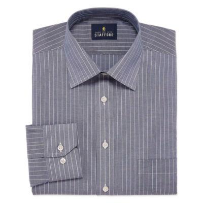 Stafford Travel Easy Care Long Sleeve Broadcloth Grid Dress Shirt- Big And Tall
