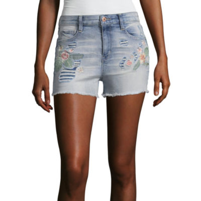 "Arizona 2 1/2"" High Rise Embroidered Denim Shorts-Juniors"