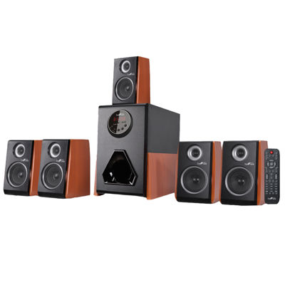 beFree Sound Luxury 5.1 Channel Surround Sound Bluetooth Speaker System with Wood Finish Accents
