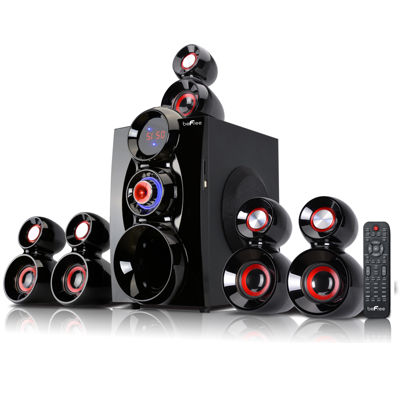 beFree Sound 5.1 Channel Surround Sound Bluetooth Speaker System- Red
