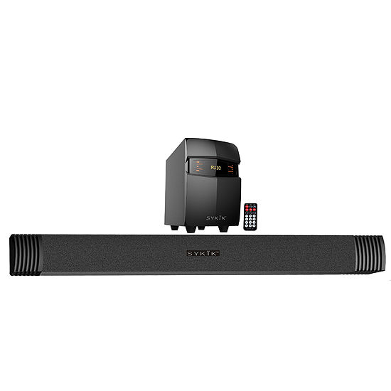 Sykik Bluetooth Sound Bar with Subwoofer, Wireless Remote, FM Radio, RCA Input, USB, SD Ports and Bass Control