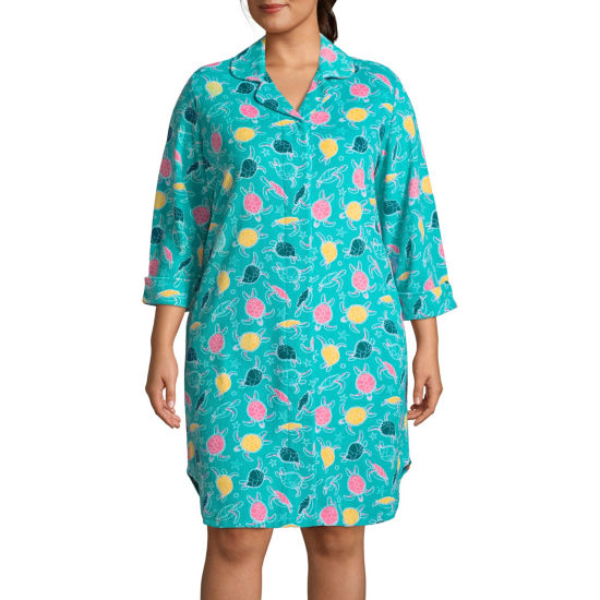 Lissome Lounge Terry 3/4 Sleeve Nightshirt-Plus
