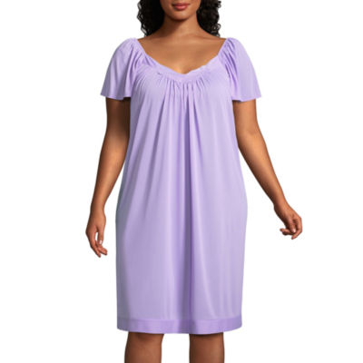 Lissome Lounge Tricot Short Sleeve Sweetheart Neck Nightgown-Plus