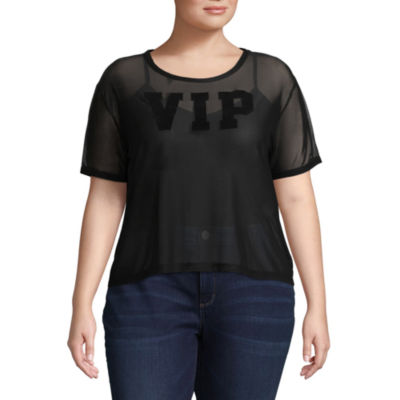 Short Sleeve Scoop Neck Graphic T-Shirt-Juniors Plus