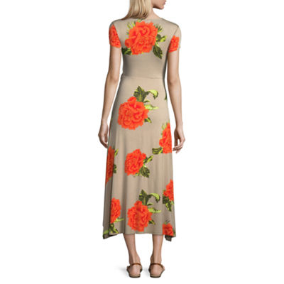 Derek Heart Short Sleeve Floral Maxi Dress-Juniors