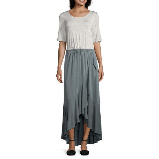 Spense Elbow Sleeve Knit Maxi Dress