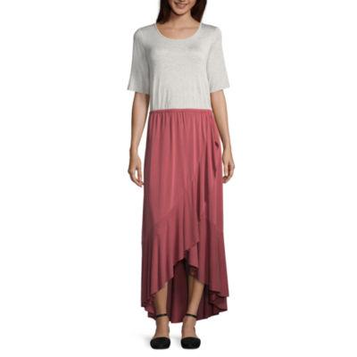 Spense Elbow Sleeve Knit Maxi Dress