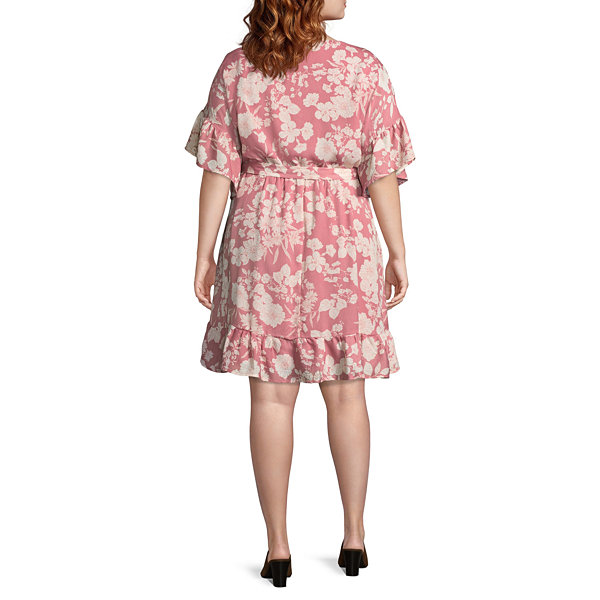 Luxology 3/4 Sleeve Floral Wrap Dress - Plus