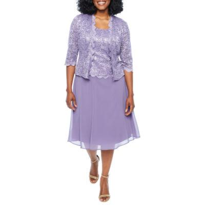 R & M Richards 3/4 Sleeve Embellished Shift Dress-Petites