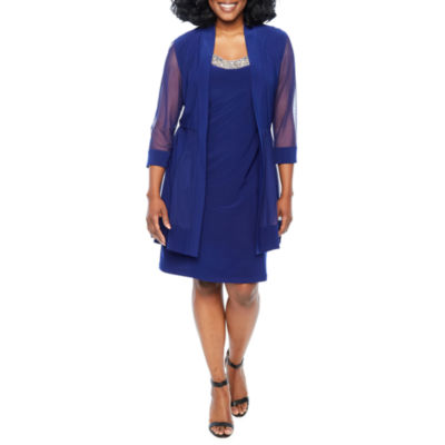R & M Richards Sleeveless Embellished Shift Dress-Petite