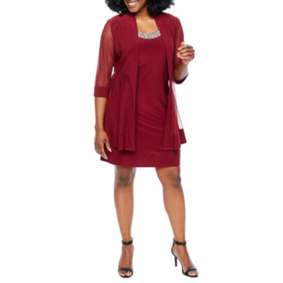R & M Richards 3/4 Sleeve Embellished Abstract Shift Dress-Petite