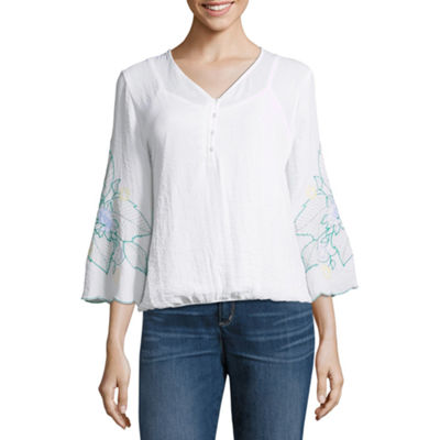 Liz Claiborne 3/4 Sleeve Embroidered Top - Tall
