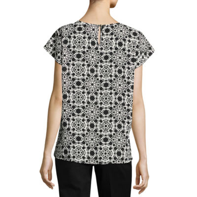 Liz Claiborne Pleat Front Flutter Sleeve Blouse - Tall