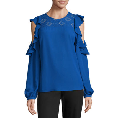 Worthington Cold Shoulder Ruffle Top - Tall