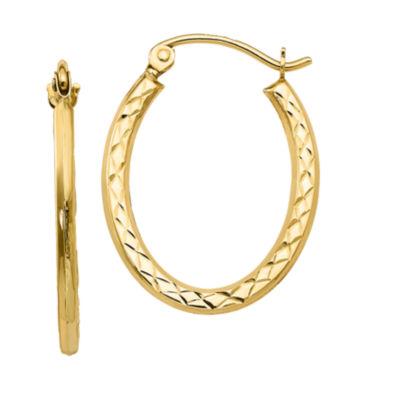 10K GOLD 22mm Oval Hoop Earrings