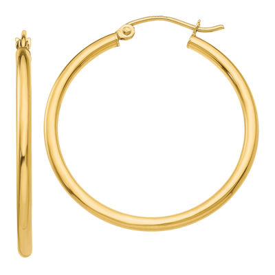 10K GOLD 26mm Round Hoop Earrings