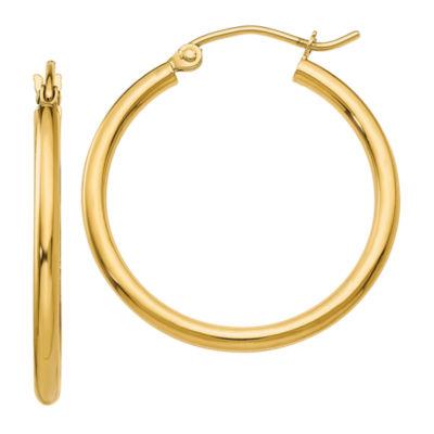 10K GOLD 22mm Round Hoop Earrings