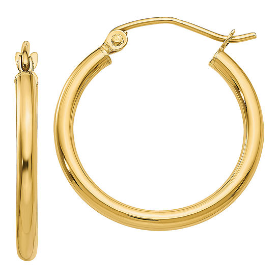 10k Gold 16mm Round Hoop Earrings