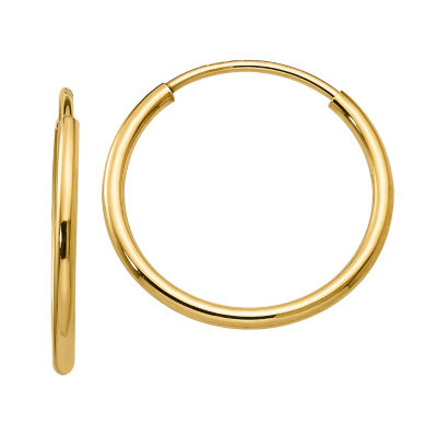 10K GOLD 17mm Round Hoop Earrings