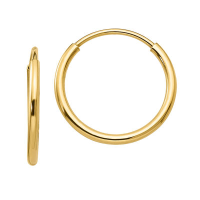 10K GOLD 15mm Round Hoop Earrings