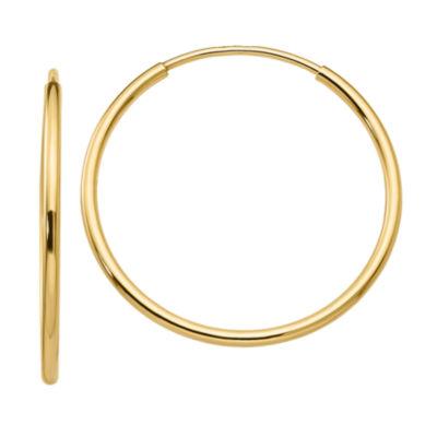 10K GOLD 25mm Round Hoop Earrings
