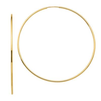 10K GOLD 64mm Round Hoop Earrings