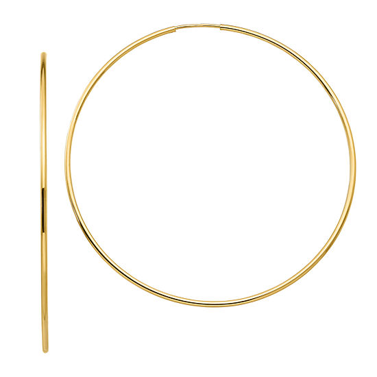 10K GOLD 64mm Round Hoop Earrings