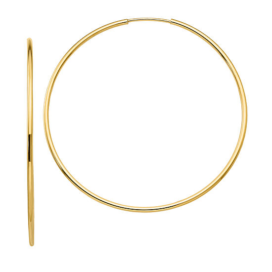 10K GOLD 50mm Round Hoop Earrings