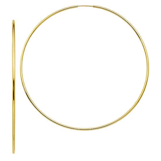 10K GOLD 77mm Round Hoop Earrings